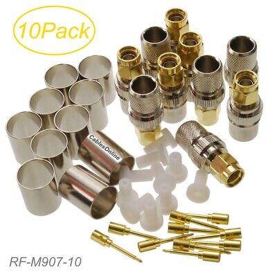 10X Pcs RF Coax Connector SMA Male Jack Crimp for LMR400 RG8 RG213 RG214 RG165 7D-FB Cable Plug Gold Plated