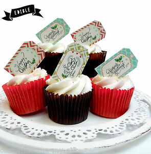 Edible Cake Pop Decorations : 12 Christmas Gift tag Edible Pop Top Cupcake Toppers ...