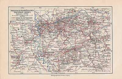 Angemessen Ruhrgebiet Eisenbahnen Nrw Industrie-gebiet Landkarte Von 1905 Diversifizierte Neueste Designs
