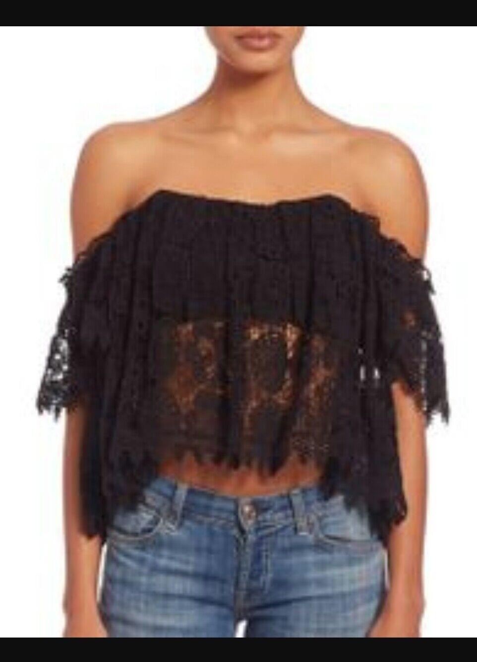 TulaRosa damen Größe M schwarz Amelia Crochet Lace Off The Shoulder Crop Top 79-11