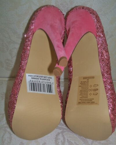 BNWB SIZE 3 4 5 PINK SEQUIN SPARKLY FAUX SUEDE HIGH HEEL PLATFORM COURT SHOES
