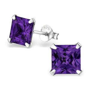 Sterling-Silver-Amethyst-Square-Stud-Earrings-Gift-Boxed-NEW
