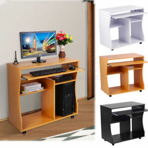 Wooden Computer Desk Trolley Keyboard Storage Shelves Home Office