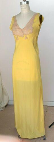1930s butter yellow silk bias cut night gown