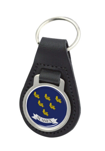 Sussex County Flag Round Black Leather Keyring