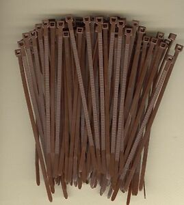"100 5"" Inch Long 40# Pound BROWN Nylon Cable Zip Ties Ty Wraps Made in the USA"