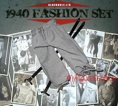 German 1940 Fashion Black Box Figures Tweed Pants /& Suspenders 1//6 Scale