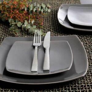 Image is loading Square-Dinnerware-Set-16-Piece-Dinner-Plates-Bowls- & Square Dinnerware Set 16 Piece Dinner Plates Bowls Kitchen Stoneware ...