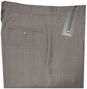 325-NEW-ZANELLA-ITALY-DEVON-TAUPE-TONES-PLAID-SUPER-120-039-S-WOOL-PANTS-32