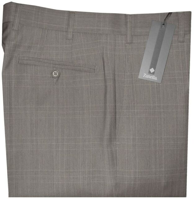 $325 NEW ZANELLA ITALY DEVON TAUPE TONES PLAID SUPER 120'S WOOL PANTS 36