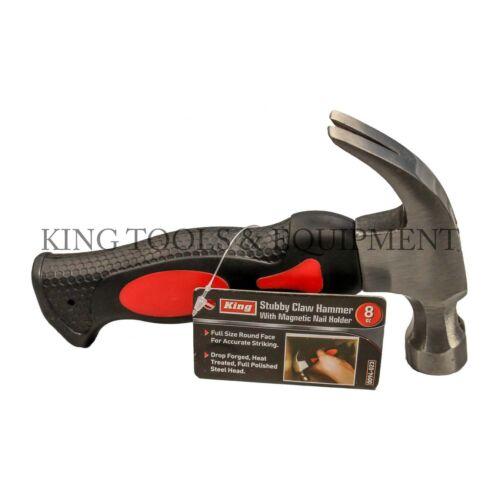 Nouveau KING 8 oz Stubby Claw Hammer Avec Fibre De Verre Poignée Petit outil à main environ 226.79 g acier