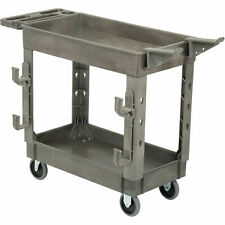 Plastic 2 Shelf Service Cart With Ladder Holder And Utility Hooks 38l X