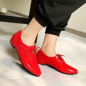 Womens-Pointed-Toe-Patent-Leather-Brogue-Lace-Up-Flats-Oxfords-Shoes-all-size