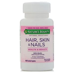 Details About Nature S Bounty Hair Skin Nails 60 Coated Caplets Tablets 3000mcg Of Biotin