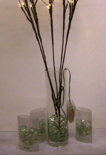CLEAR GLASS vase /& 3 packs glass pebbles Warm Twig Lights 5 stems 30 lights