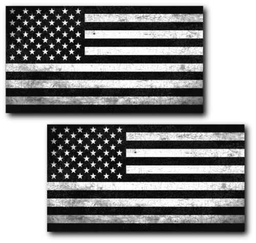 2 Grunge Black And White American Flag decal Car Truck Marines Army Window