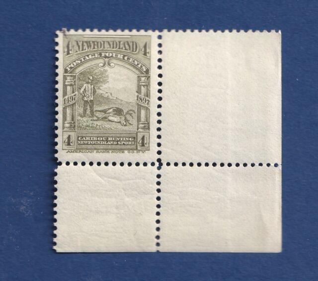 Newfoundland stamps #64 4c Olive Green Caribou Hunting F/VFmnh