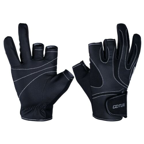 Summer 3 Cut Fingers Fishing Gloves Anti-slip Breathable Outdoor Sports Gloves