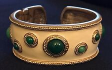 Kenneth Jay Lane KJL Ivory Enamel Cabochon Cuff with Green Jade Colored Stones