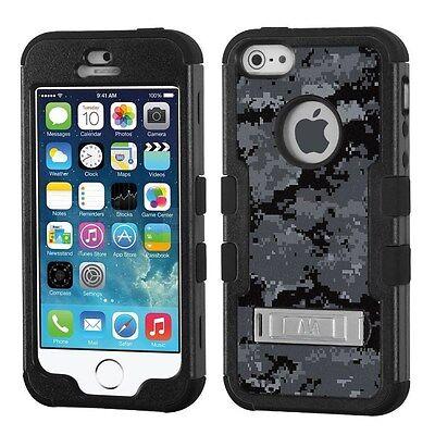 Digital Camo Black For APPLE IPHONE 5 5S (BK) Hybrid Armor Case Phone Cover