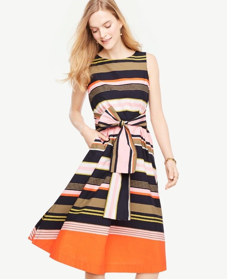 8983e1c7810e NWT Ann Taylor Sleeveless Belted Dress 139.00 NEW Multi Striped osghtv6447- Dresses