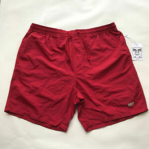 93eac42c2f Obey Men's Nylon Shorts Isle of Youth Red Size L NWT Shepard Fairey ...