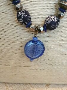 Fashion-Jewellery-Bracelet-medium-Length-blue-Tone-bead-and-Chain