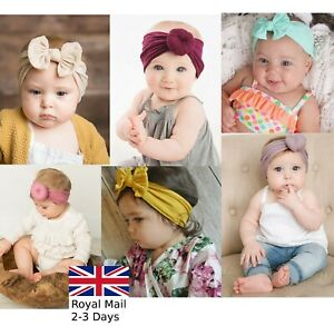 Baby-Girls-Bow-Bun-Turban-Headband-Hair-band-Head-Wrap-Cute-Kids-Plain-Stretch
