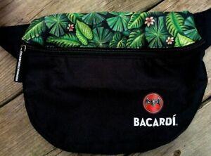 BACARDI RUM Logo Black Hawaiian Print ADJUSTABLE HIP BAG Fanny Pack Zipper Bag
