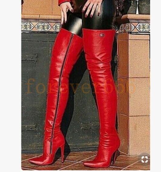 Sexy Stiefel Damenschuhe High Heel Overkneestiefel Rot Nachtclub Spitz zehe modell