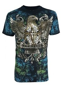 Konflic-Men-039-s-American-Eagle-amp-Cross-Graphic-UFC-MMA-Muscle-T-Shirt