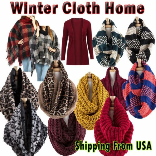 New Women Winter Warm Infinity Circle Cable Knit Cowl Neck Long Scarf Shawl Wrap