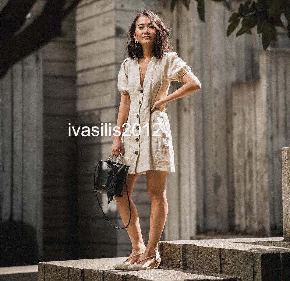 ZARA NEW WOMAN BUTTONED LINEN DRESS V-NECK PUFF SLEEVES SAND XS-XL REF.0387/070