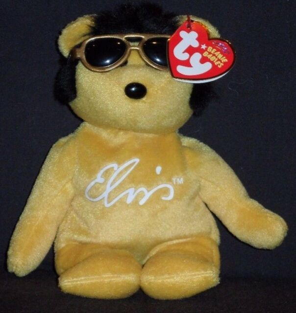 Nt  Ty Beanie Baby Solid Gold The Elvis Presley Bear No Hang Tag Retired 38212cbb821