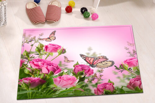 "Flowers Butterfly Shower Curtain Bathroom Mat Rug Waterproof Fabric 72//79/"" 1915"
