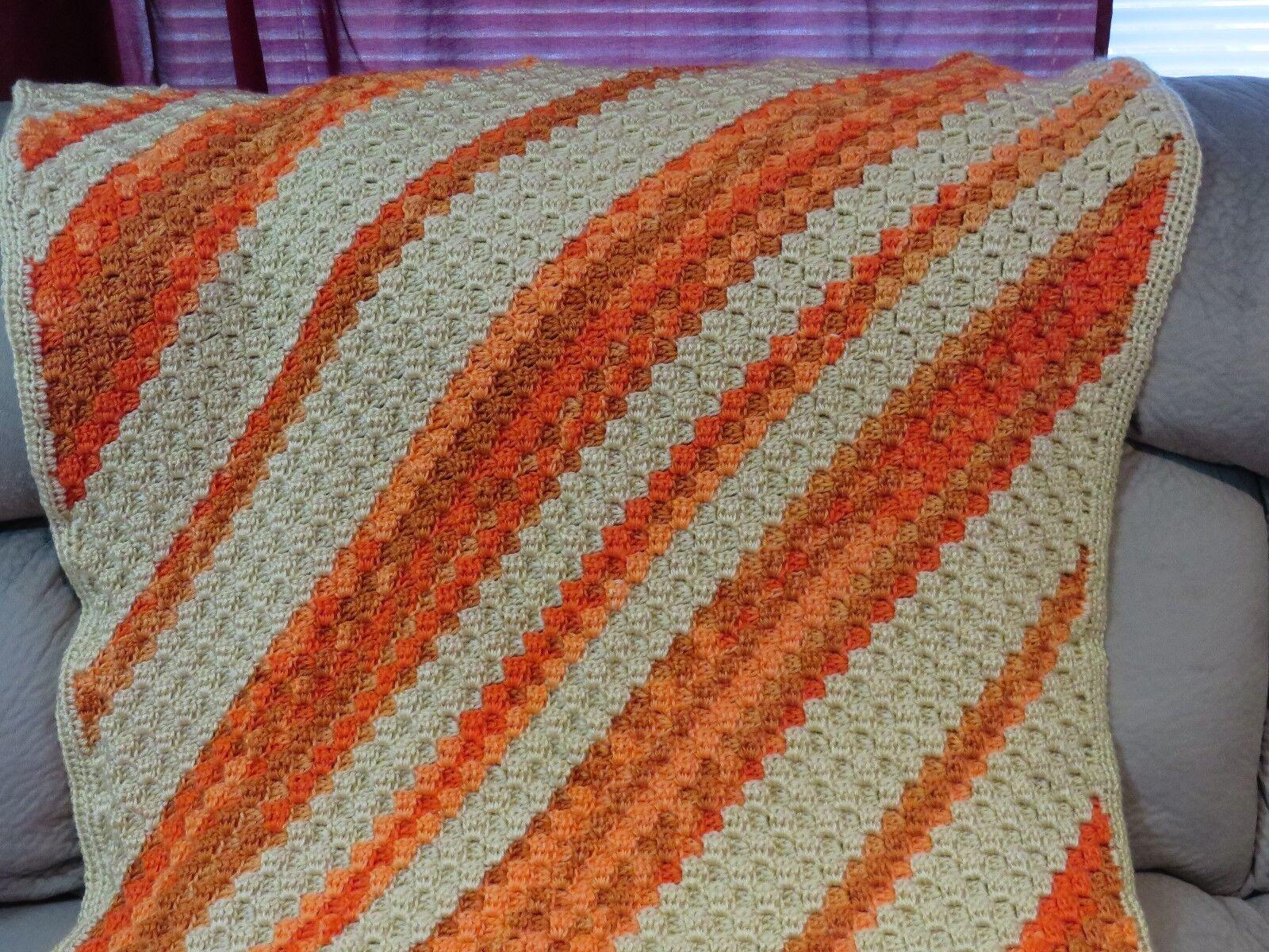 New  Handmade Crochet Blanket Throw Afghan - 40x55 - ivory, orange gold stripe