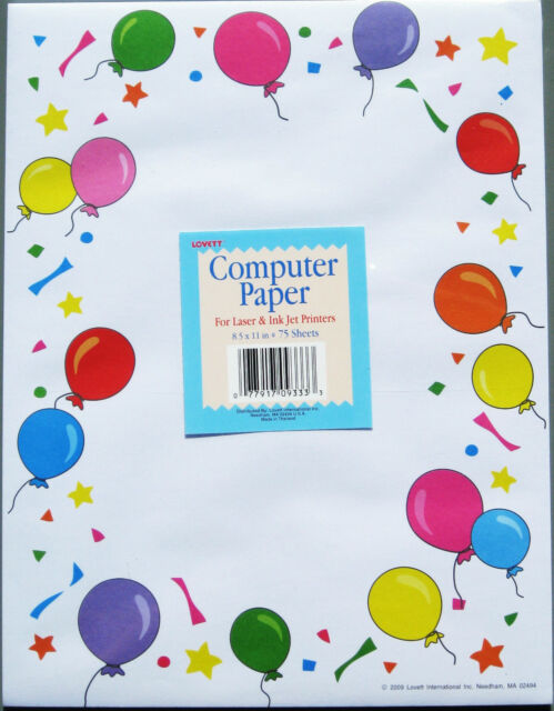 balloons design computer printer paper birthday letter party invitations 75 ct
