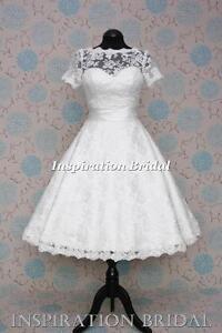 UK-designer-1521-short-Tea-Length-knee-lace-wedding-dress-cap-sleeves-vintage