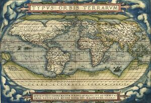 MP Vintage Old Typus Orbis Terrarum World Map Poster RePrint - A1 world map poster