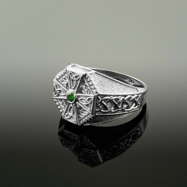 oro Bianco Croce Celtica verde Smeraldo Cz Uomo Uomo Uomo Anello fd9baa