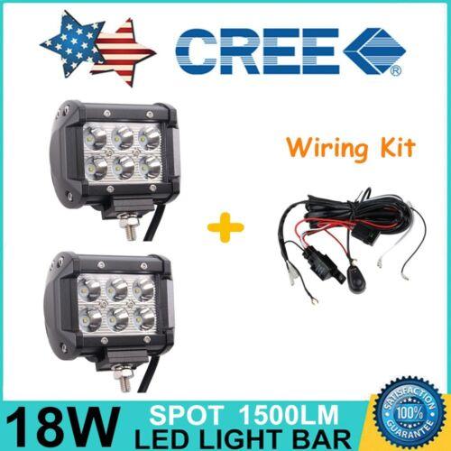 "2X 4/"" 18W CREE LED Work Light Bar Spot Off-road Driving Fog Lamp SUV Wiring Kit"