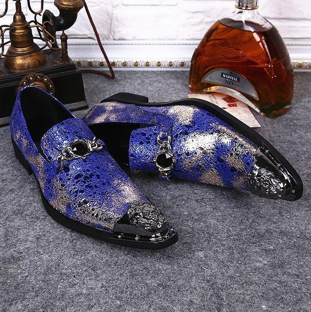 Uomo Pelle Pointed Toe Slip On Loafers Dress Formal Business Scarpe Metal decor