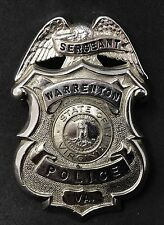 VINTAGE OBSOLETE SERGEANT STATE OF VIRGINIA WARRENTON Collector's Police Badge