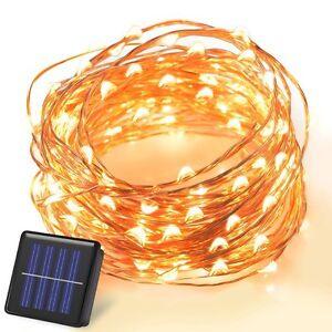 10M 100 LED Solar Draht Lichterkette Lichternetz Außen Xmas ...
