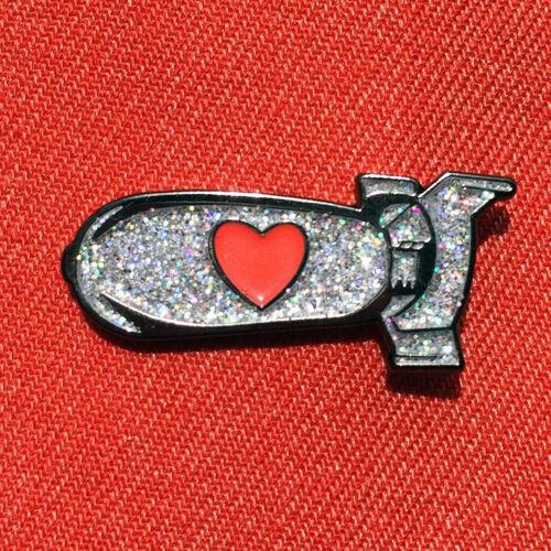"1/"" enamel die struck Atomic Love Bomb lapel hat badge pinback pin"