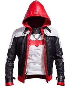 Veste Gilet cuir homme et rouge à costume Arkham en pour Batman capuche Knight Game rOqrHBT