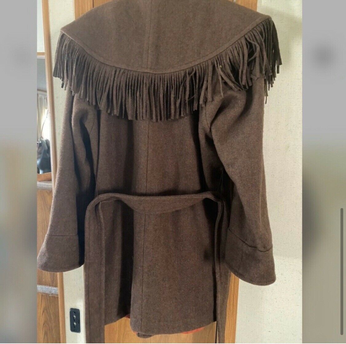 Donnybrook Wool with Leather Fringe Brown Coat Re… - image 6