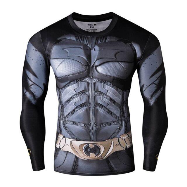 Men Marvel Batman Comic Compression T-shirt Long Sleeve Tight Top Cycling Jersey