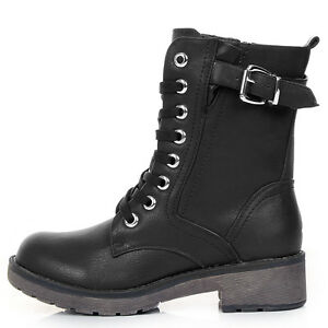 NEW-WOMENS-COMBAT-ARMY-MILITARY-BIKER-FLAT-LACE-UP-WORKER-ANKLE-BOOTS-SIZE-BLACK