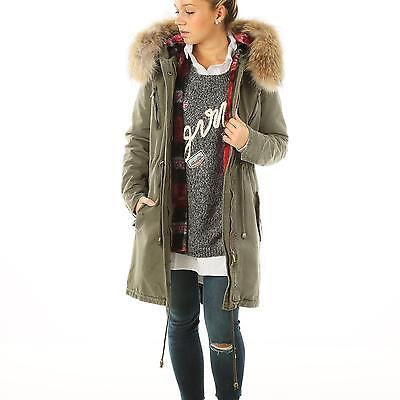H4F Damen Parka Mantel Jacke Khaki grün XXL echt Fell Pelz Kapuze Blogger Style